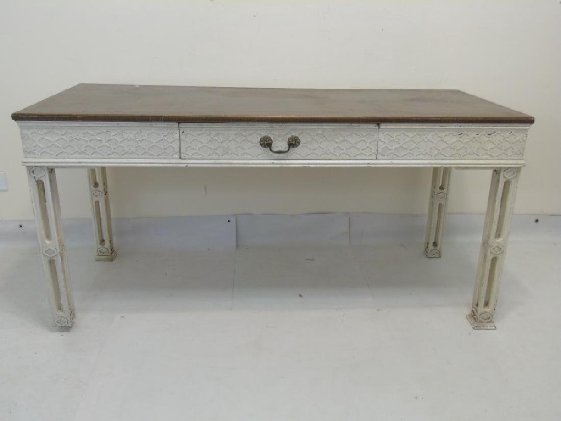 Vintage French Gothic Carved Wood Desk or Console