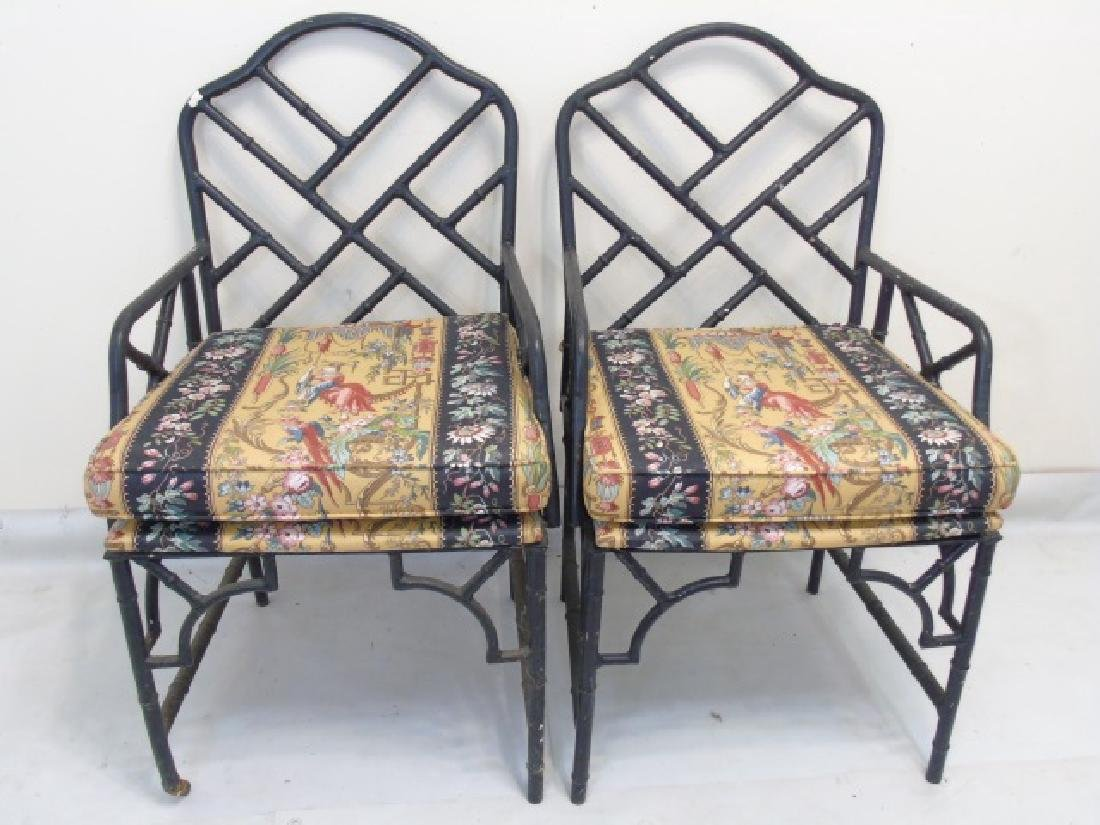 Pair Black Metal Chinese Chippendale Style Chairs