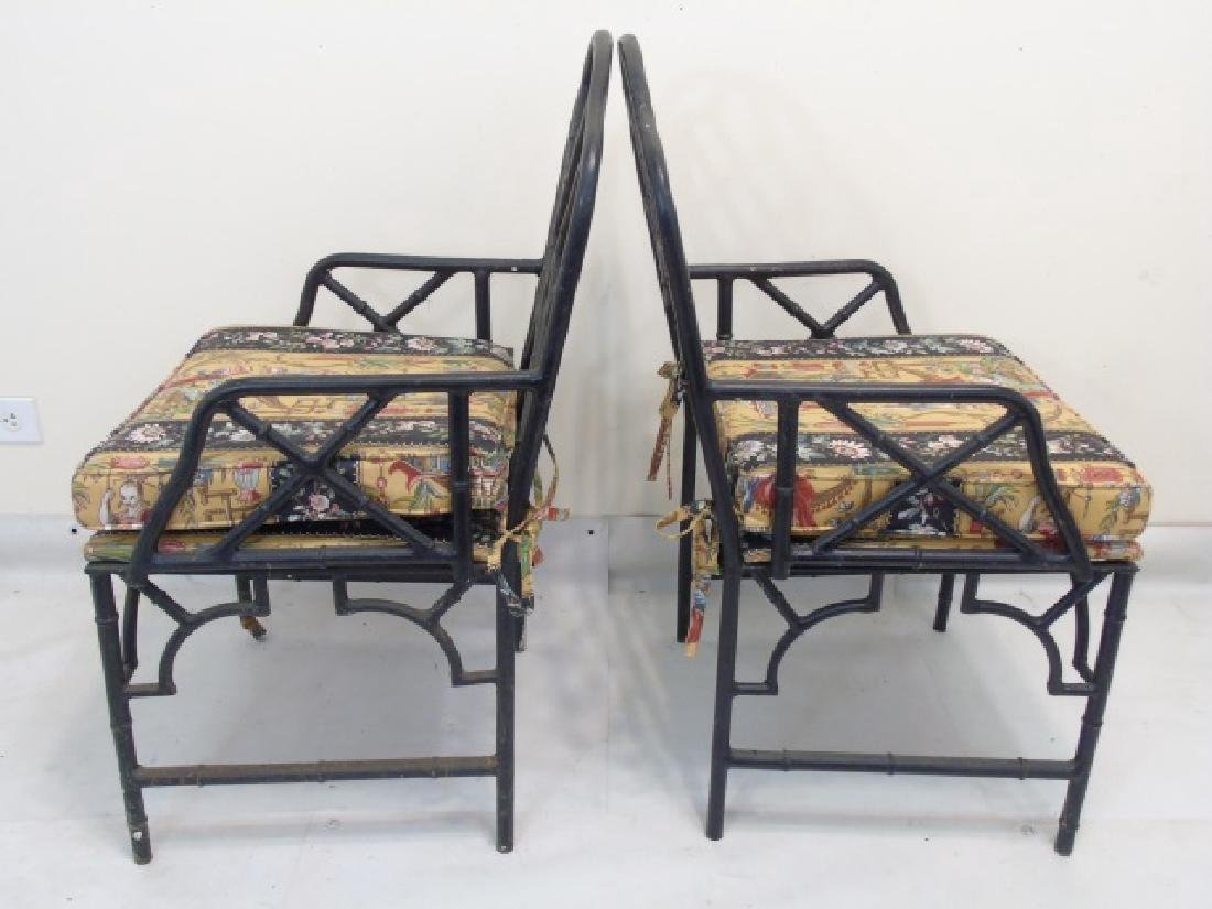 Pair Black Metal Chinese Chippendale Style Chairs - 3