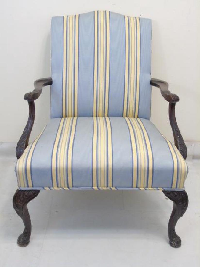 Vintage Blue Yellow Stripe Martha Washington Chair