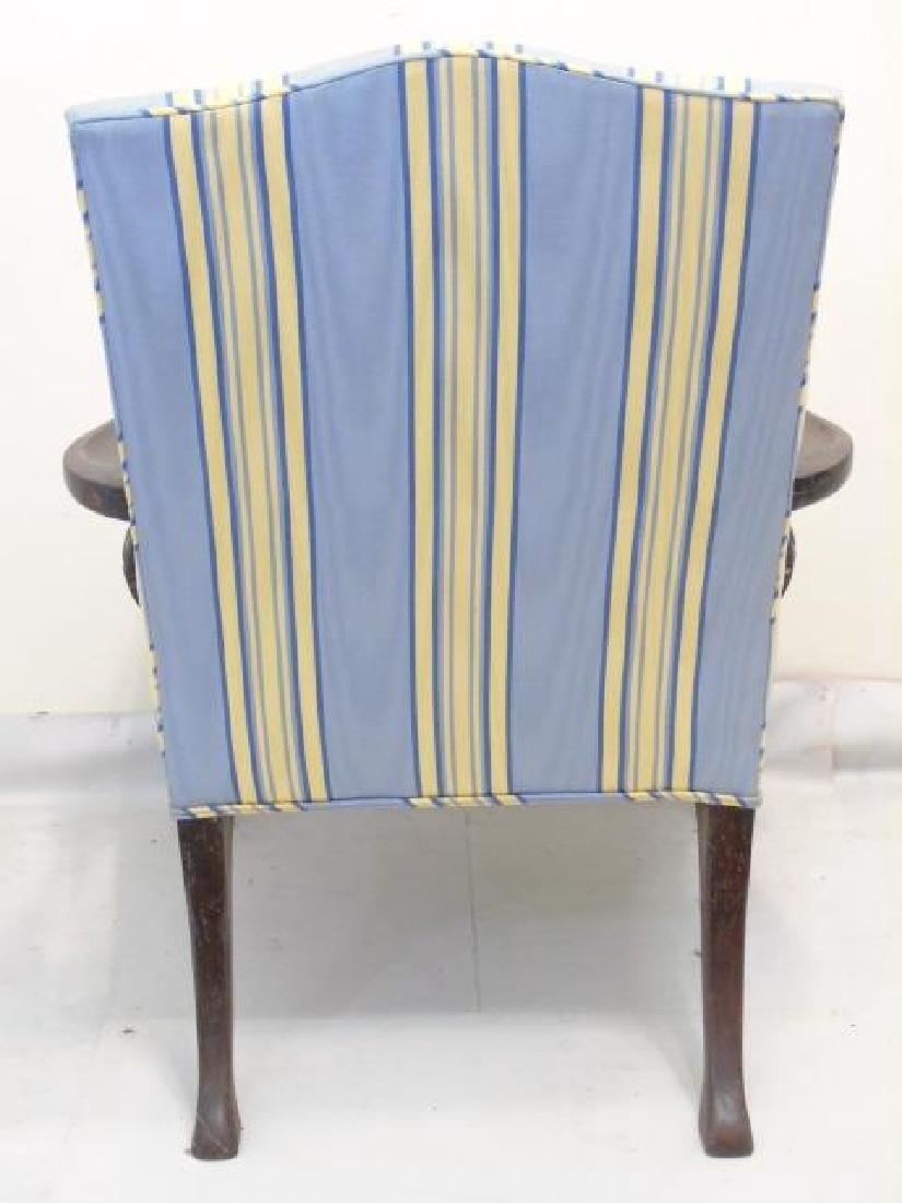 Vintage Blue Yellow Stripe Martha Washington Chair - 2