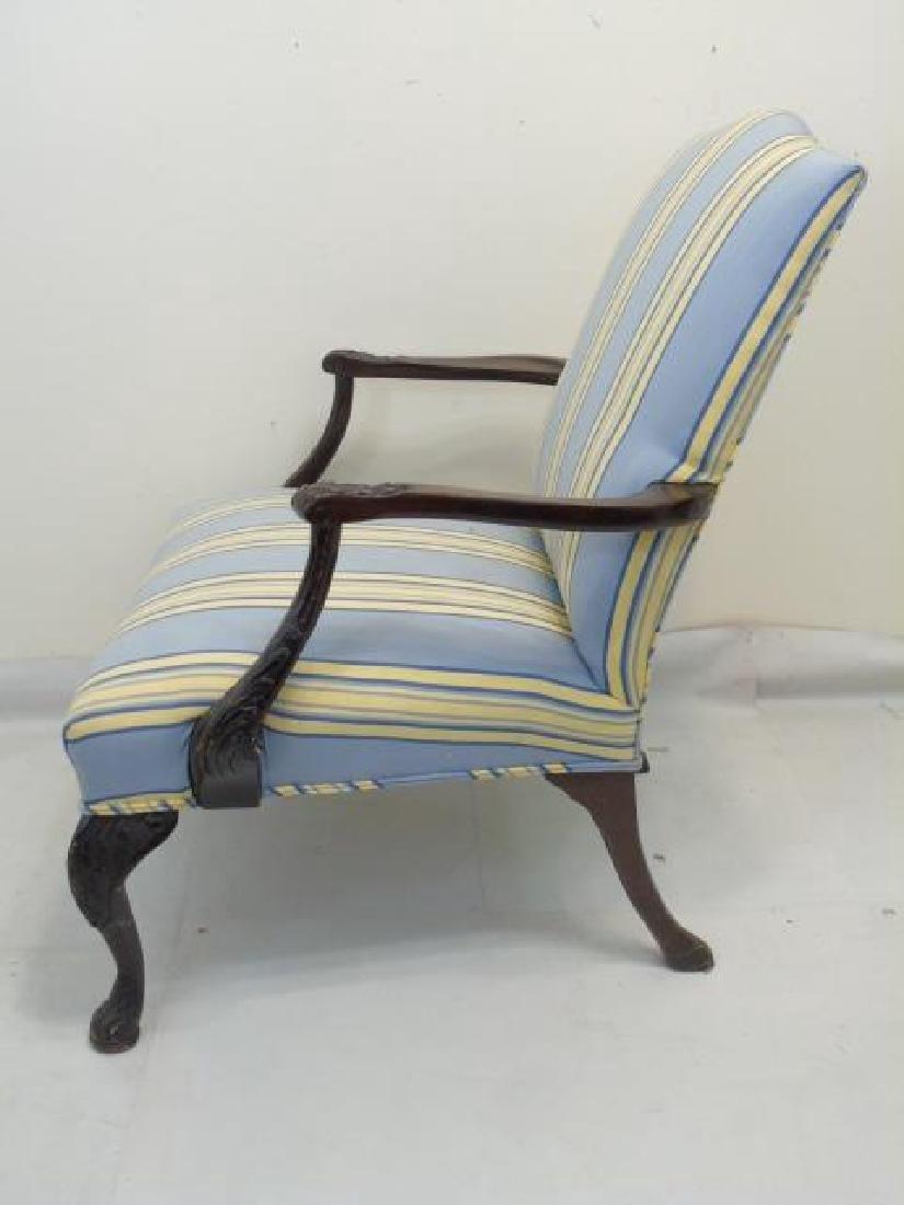 Vintage Blue Yellow Stripe Martha Washington Chair - 3