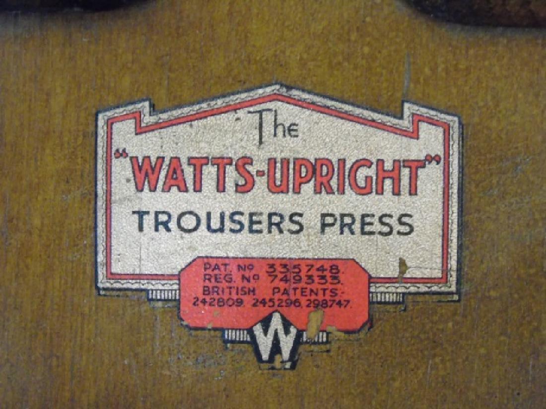 Antique Oak & Metal Watts Upright Trouser Press - 2