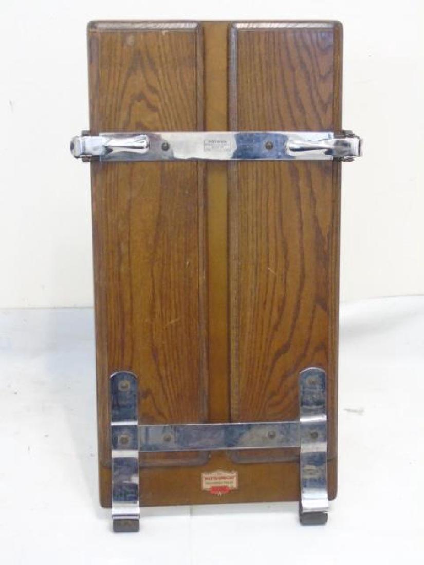 Antique Oak & Metal Watts Upright Trouser Press - 3