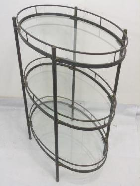 3 Tier Oval Glass Shelved Metal Table or Server