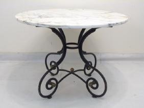 Vintage Round Marble Topped Wrought Iron Table