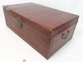 Antique Box or Trunk in Red Brown Leather