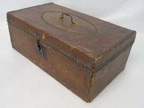 Antique Box or Trunk in Brown Leather w Nail Trim