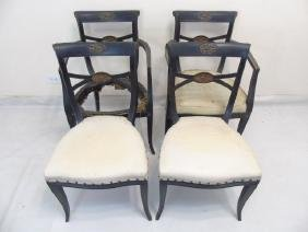 Maison Jansen Black Lacquer French Style Chairs