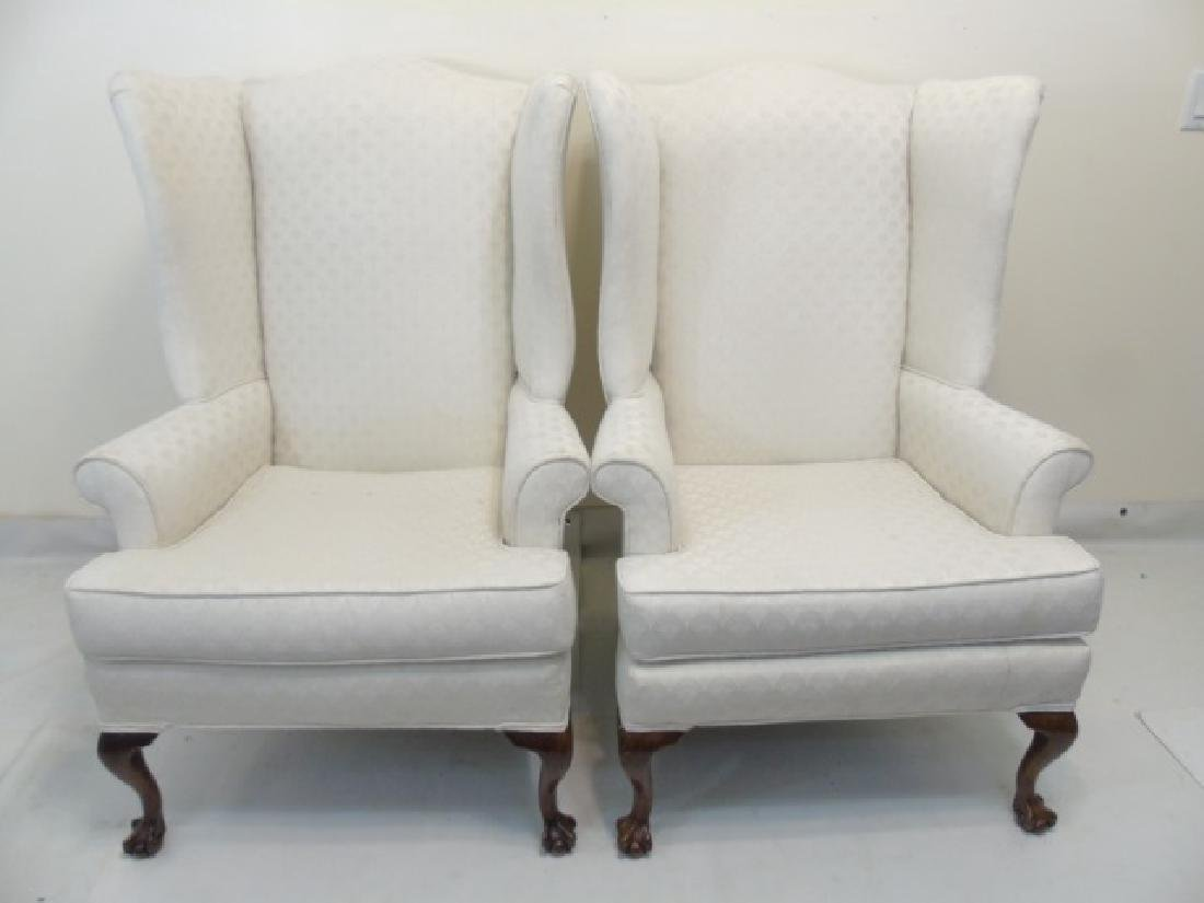 Pair of White Upholstered Library Wing Chairs