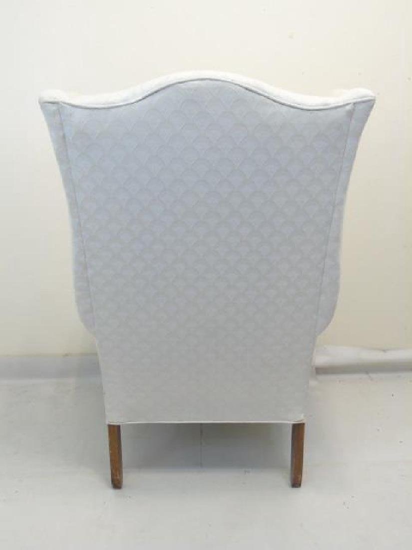 Pair of White Upholstered Library Wing Chairs - 2