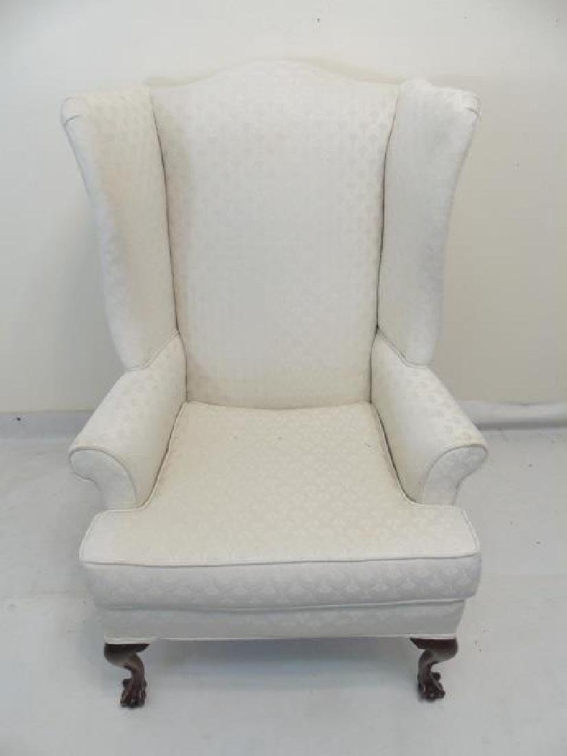 Pair of White Upholstered Library Wing Chairs - 3
