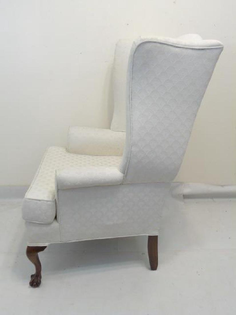 Pair of White Upholstered Library Wing Chairs - 4