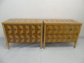 Pair Mid Century Modern Marquetry Chests of Drawer