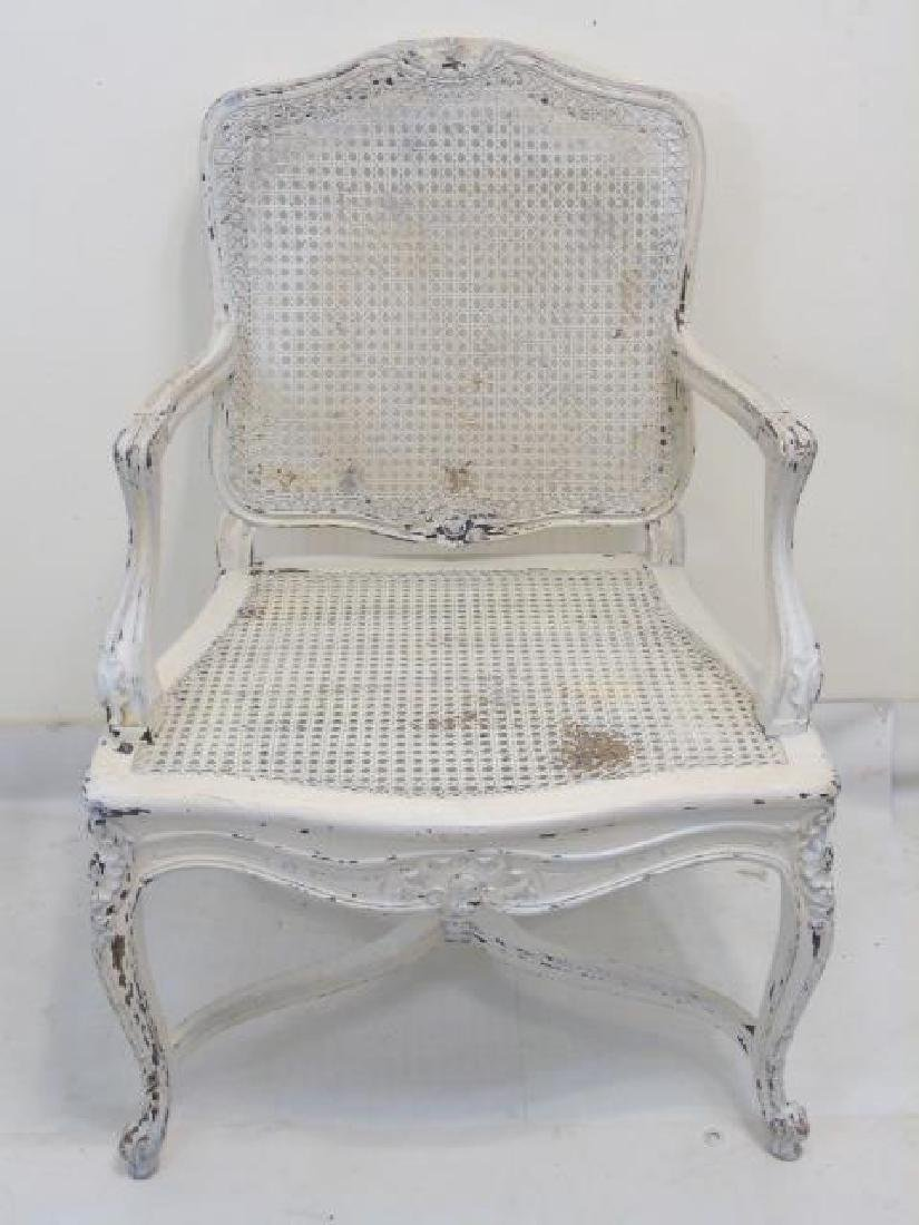 Antique Carved French Rococo Style Caned Armchair