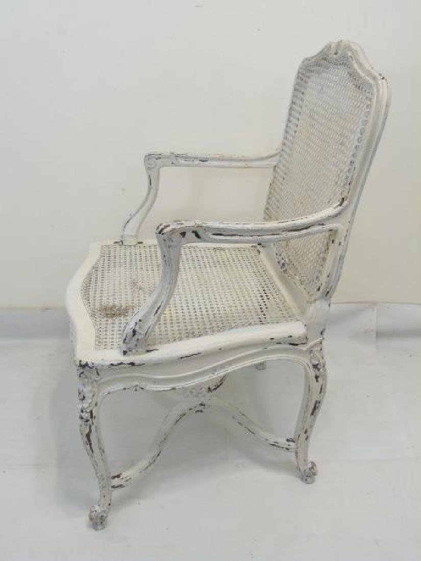 Antique Carved French Rococo Style Caned Armchair - 3