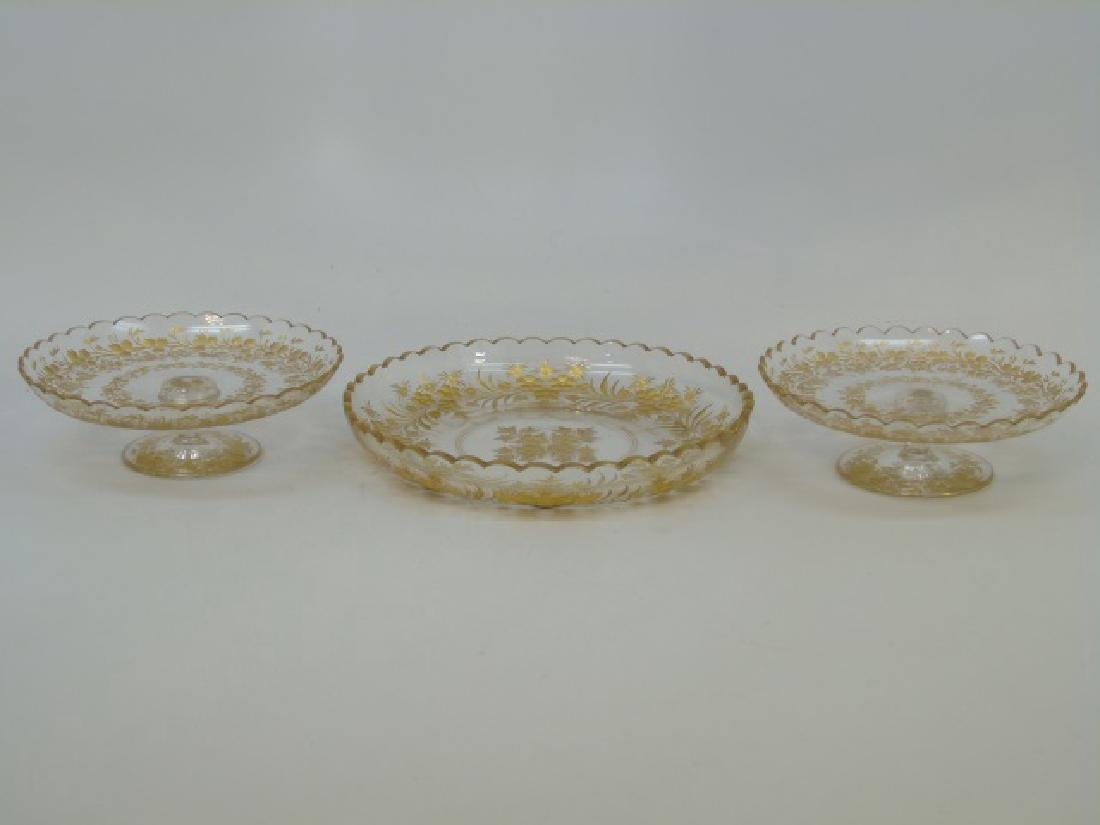 Antique French Baccarat Style Gilt Glass Compotes