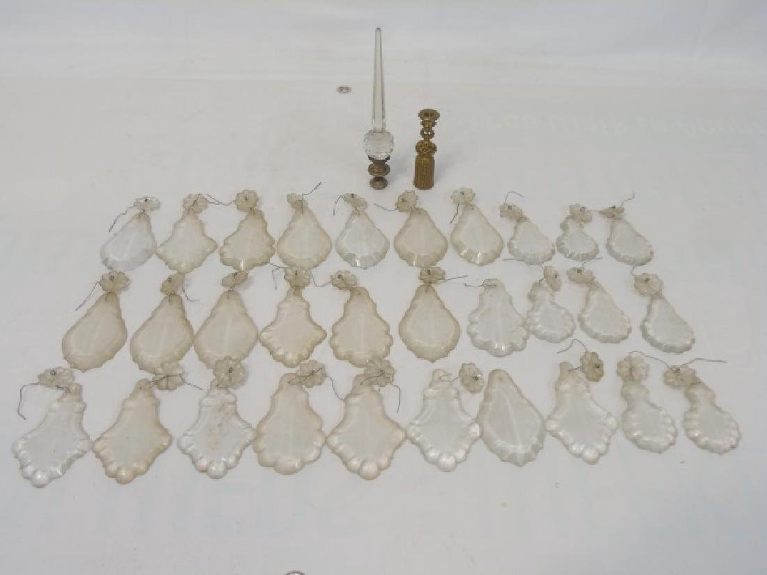 Antique Chandelier Glass Crystals & Lamp Finials