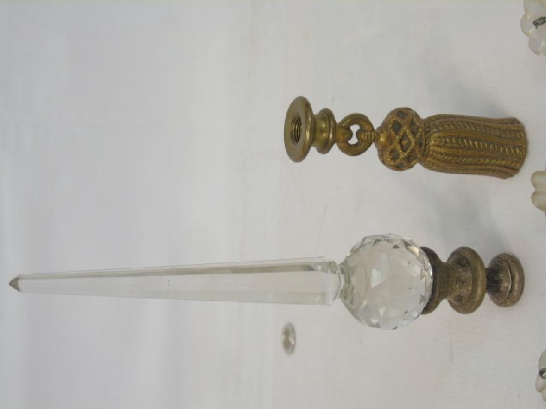 Antique Chandelier Glass Crystals & Lamp Finials - 3