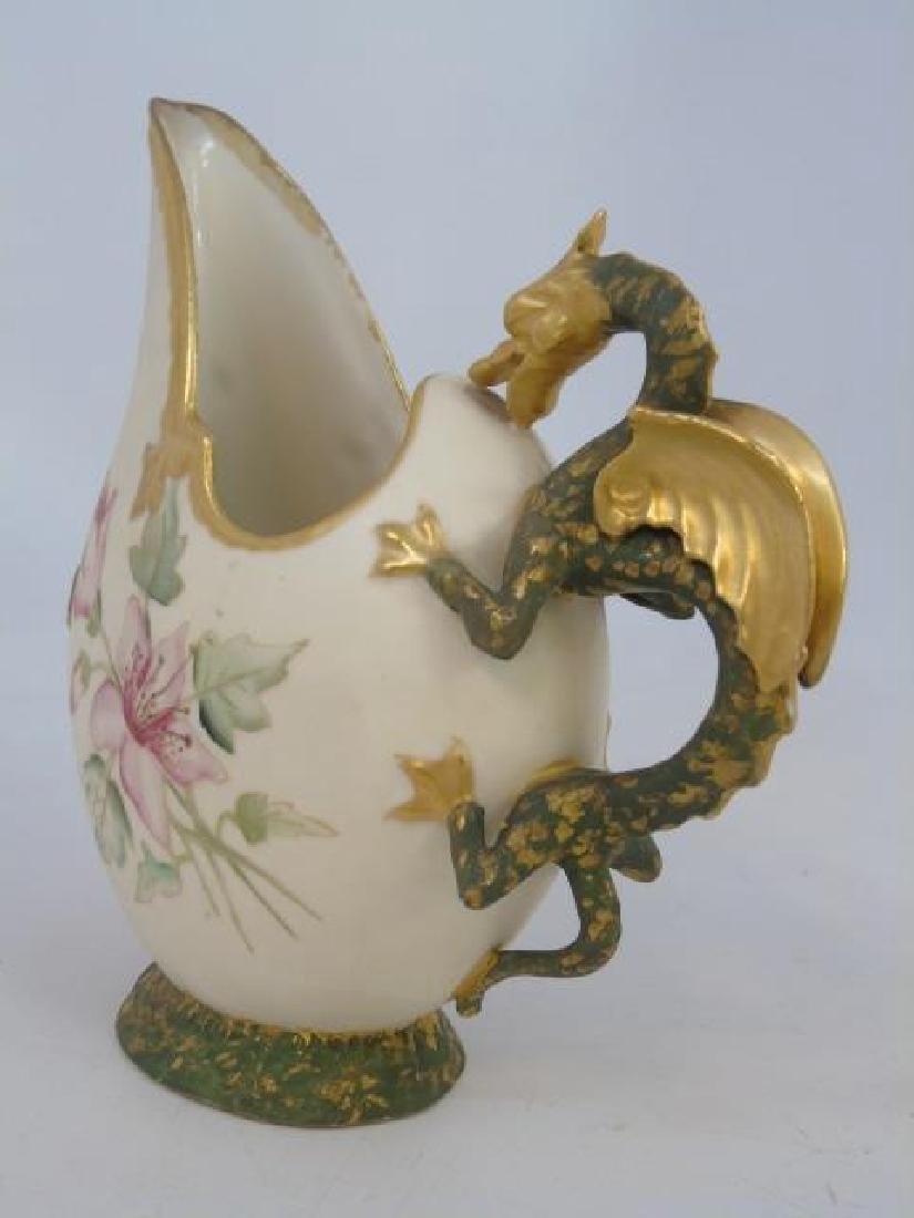 Antique Robert Hanke Austria Porcelain Dragon Ewer