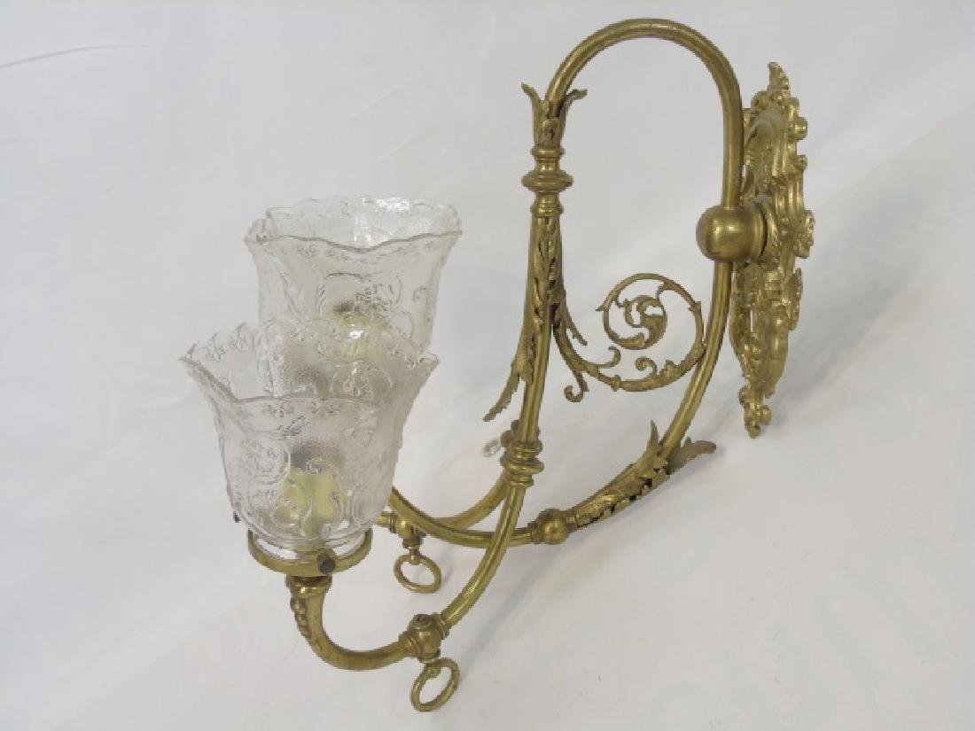 Antique Victorian Figural Cupid 3 Arm Wall Sconce