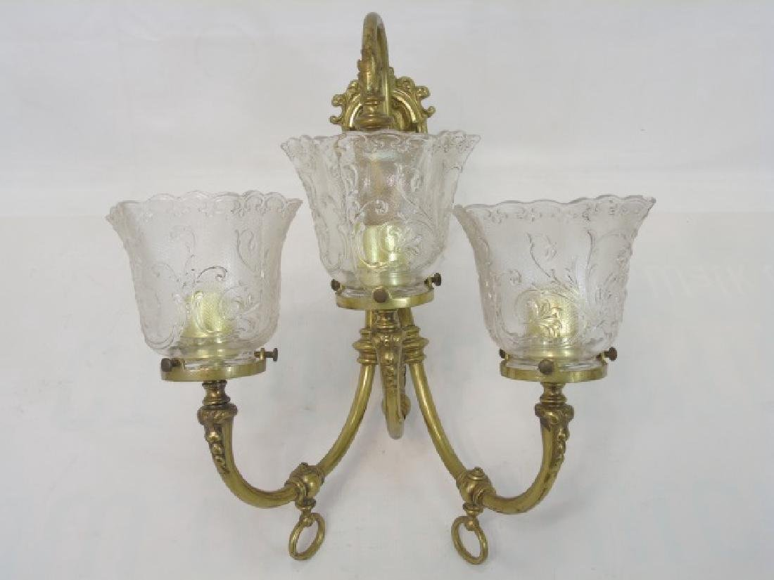 Antique Victorian Figural Cupid 3 Arm Wall Sconce - 3