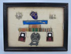 Framed Antique & Vintage Military Badges / Medals