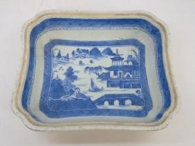 Antique Chinese Canton Blue & White Serving Dish