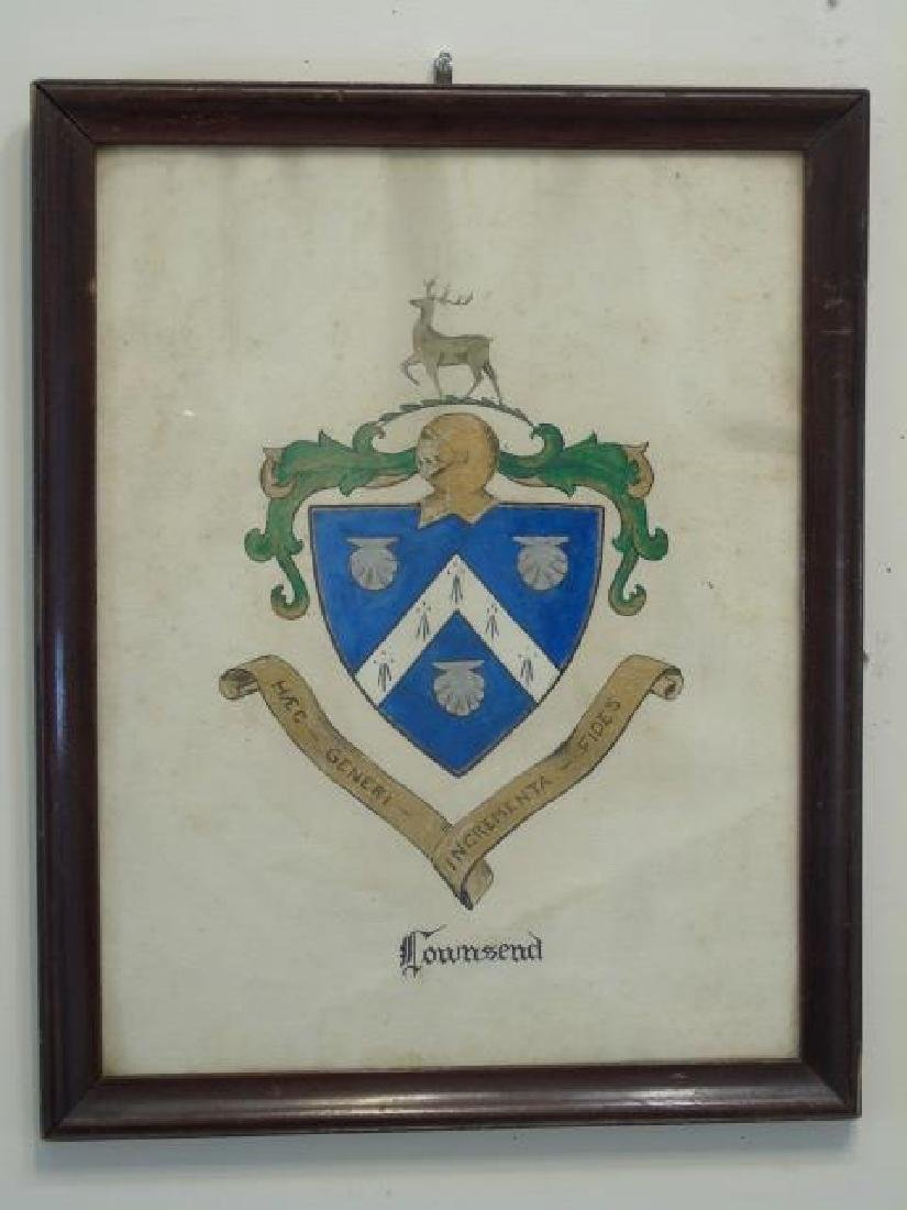 Antique Drawing of Coat of Arms / Heraldic Shield