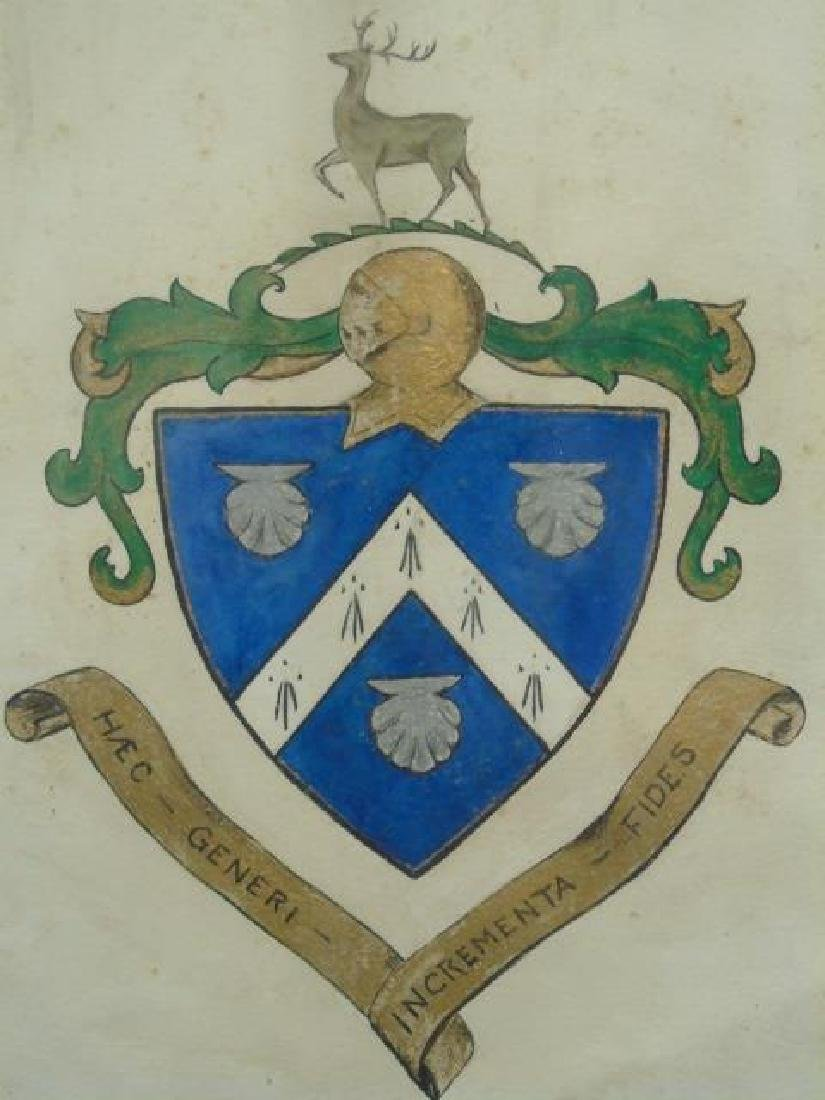 Antique Drawing of Coat of Arms / Heraldic Shield - 2