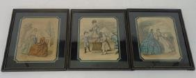 Antique Hand Colored French Prints Reverse Painted
