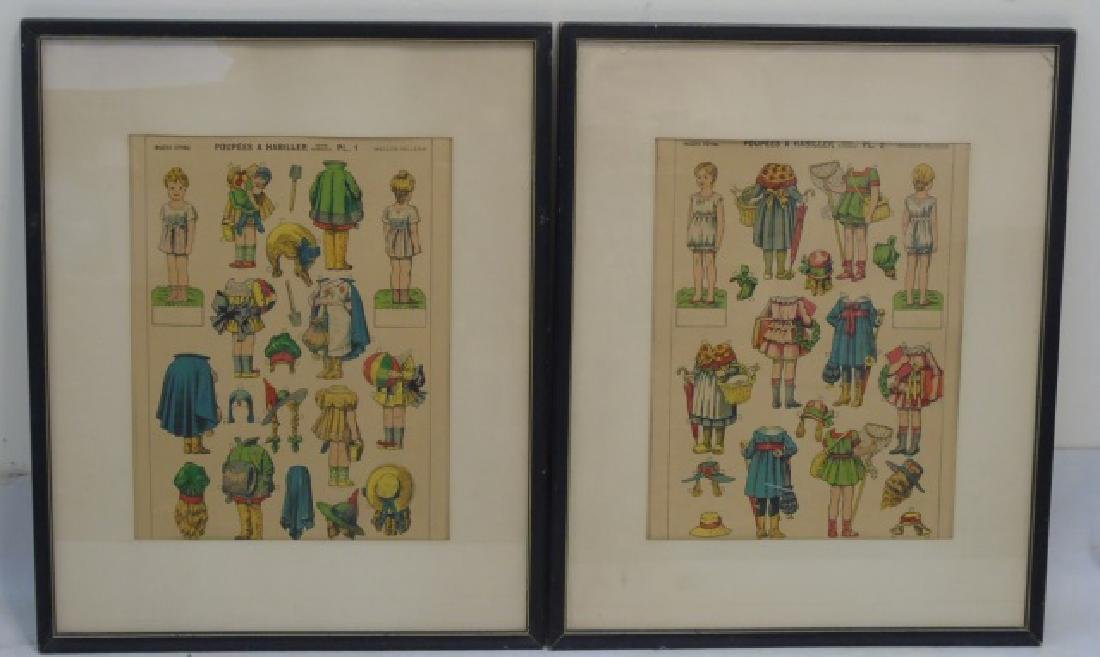 Pair Antique French Paper Doll Uncut Framed Sets
