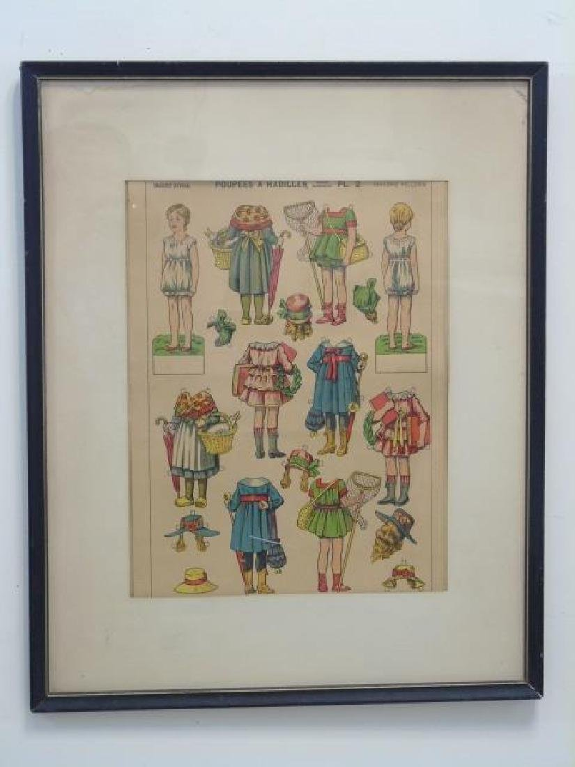 Pair Antique French Paper Doll Uncut Framed Sets - 2