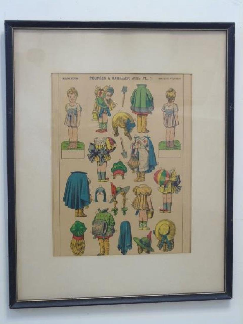 Pair Antique French Paper Doll Uncut Framed Sets - 3