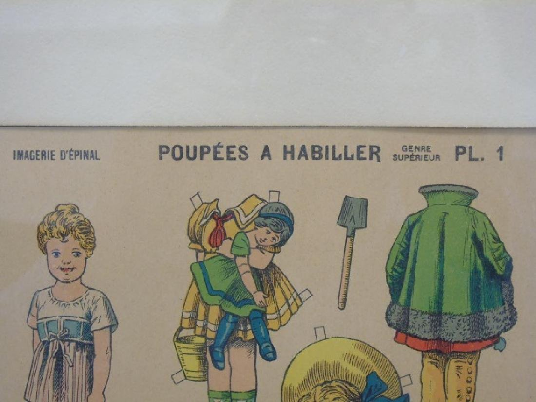 Pair Antique French Paper Doll Uncut Framed Sets - 4