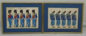 Pair Antique French Hand Colored Prints of Soldier