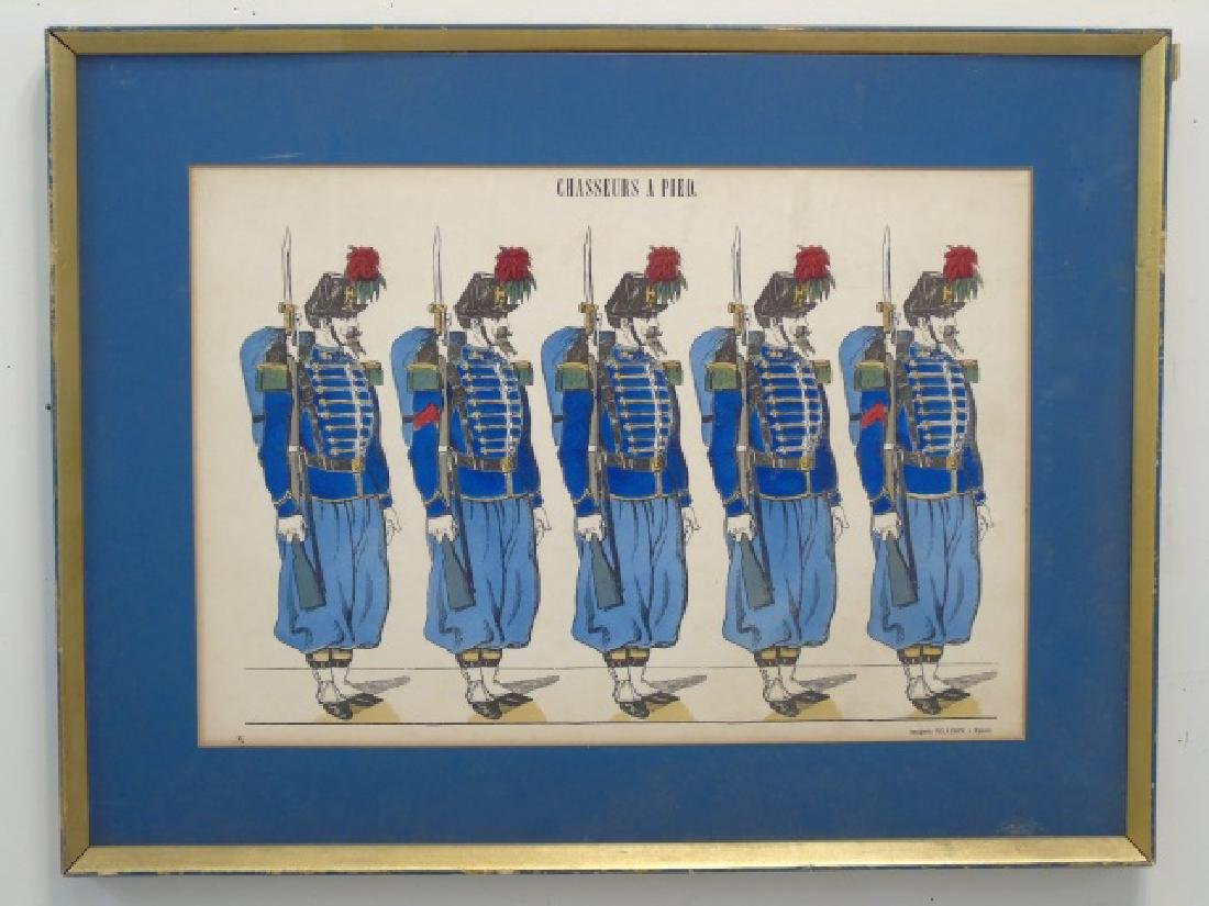 Pair Antique French Hand Colored Prints of Soldier - 2