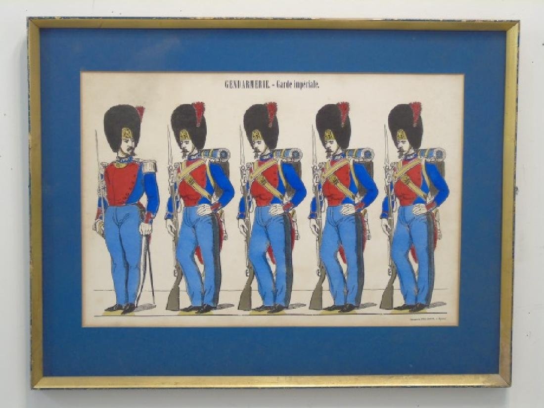 Pair Antique French Hand Colored Prints of Soldier - 3