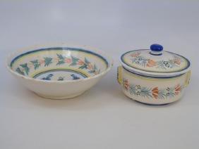 2 Serving Items Henriot Quimper c 1930 Butter Dish