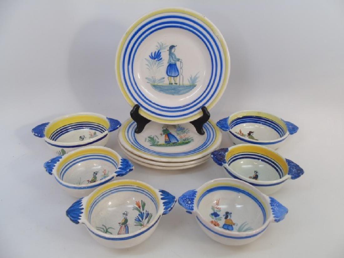 Group of Vintage Quimper Faience Bowls & Plates