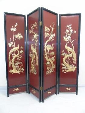 Large Vintage Chinese 4-Panel Screen Black Lacquer