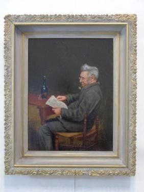 Oil on Canvas Signed J. Dunham Seated Man c 1900