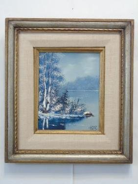 Carter - Oil on Canvas Snowy Landscape Painting