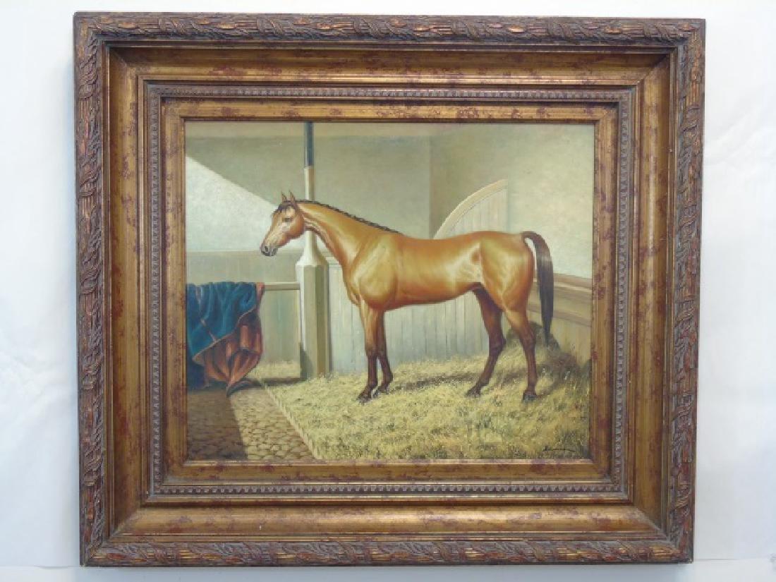 Fine Equestrian Oil on Canvas Signed Borman