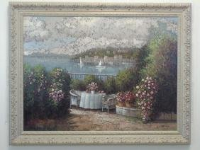 Terrace & Harbor Scene Oil on Canvas by Cariani
