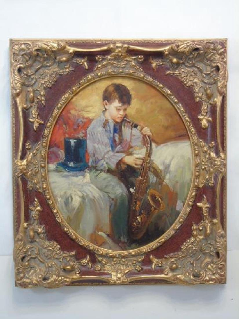 Boy Playing Saxophone Oil on Canvas Finely Framed