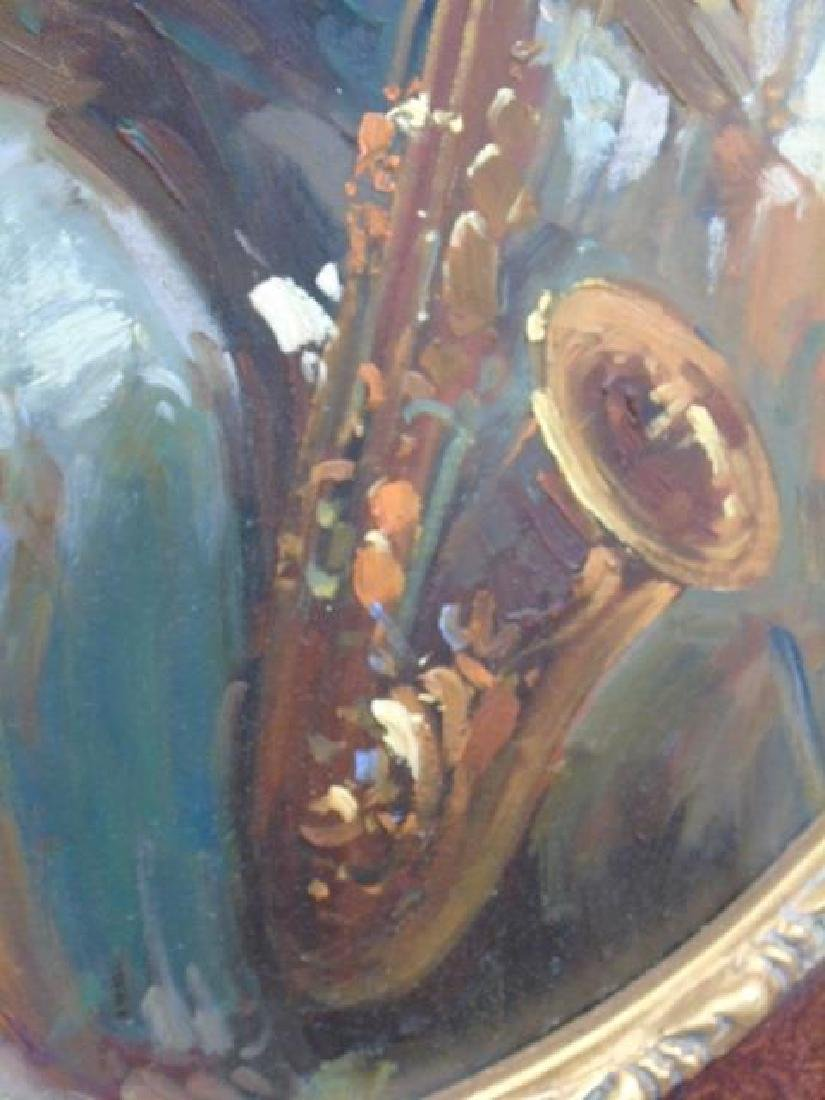 Boy Playing Saxophone Oil on Canvas Finely Framed - 2