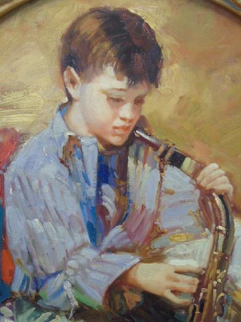 Boy Playing Saxophone Oil on Canvas Finely Framed - 3