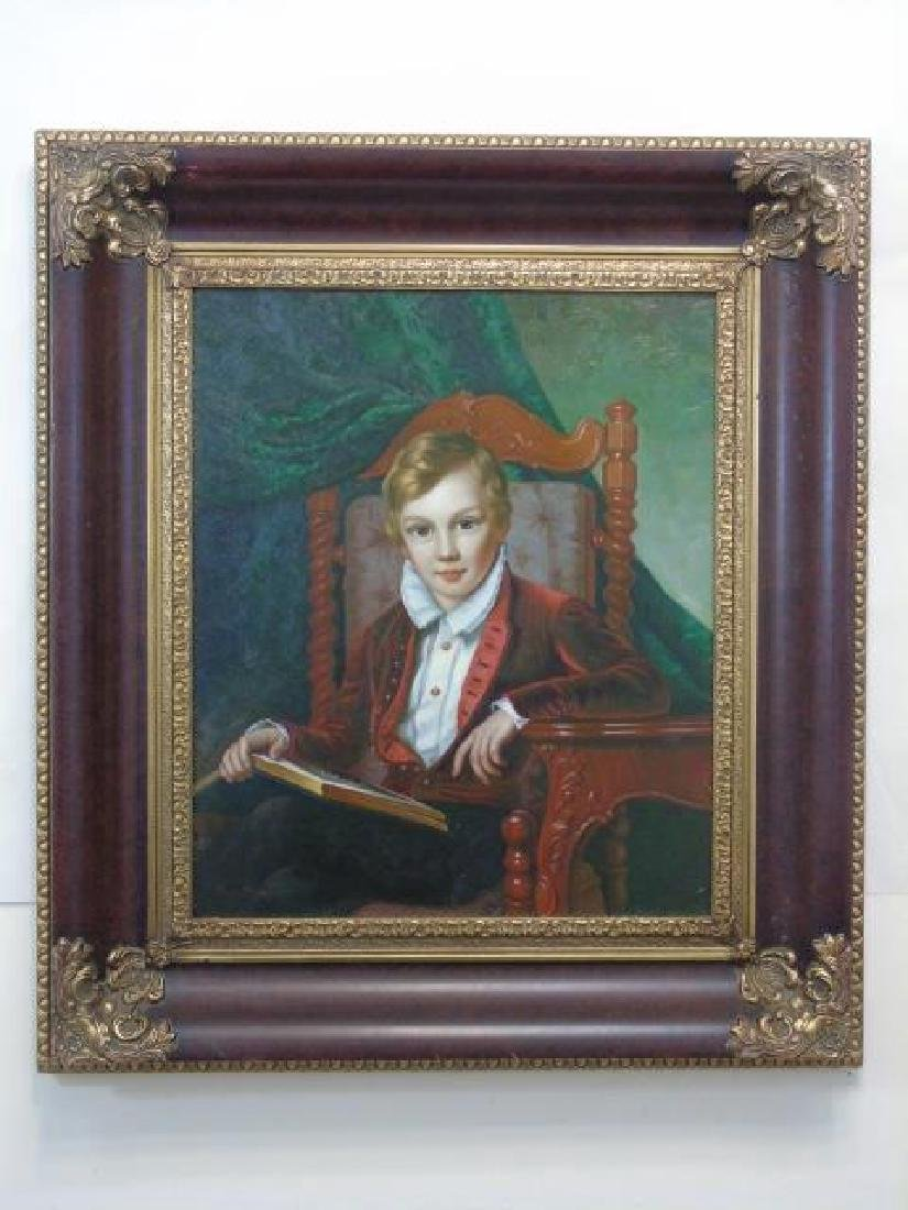 Boy in Red Velvet Reading Oil on Canvas by Steed