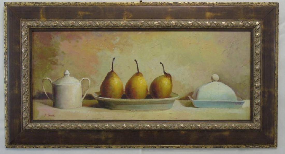 Still Life w 3 Pears Oil on Canvas Signed A. Jones